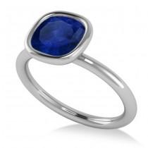 Cushion Cut Blue Sapphire Solitaire Fashion Ring 14k White Gold (1.90ct)