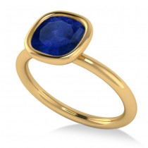 Cushion Cut Blue Sapphire Fashion Ring 14k Yellow Gold (1.90ct)