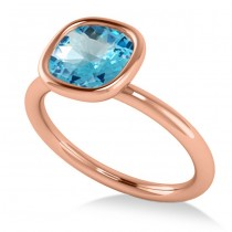 Cushion Cut Blue Topaz Solitaire Engagement Ring 14k Rose Gold (1.90ct)