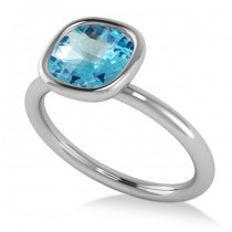 Cushion Cut Blue Topaz Solitaire Engagement Ring 14k White Gold (1.90ct)