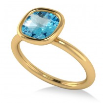 Cushion Cut Blue Topaz Solitaire Engagement Ring 14k Yellow Gold (1.90ct)