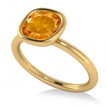 Cushion Cut Citrine Solitaire Engagement Ring 14k Yellow Gold (1.90ct)