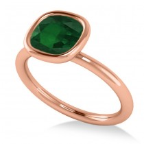 Cushion Cut Emerald Solitaire Engagement Ring 14k Rose Gold (1.90ct)