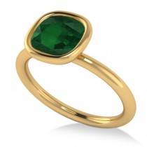 Cushion Cut Emerald Solitaire Fashion Ring 14k Yellow Gold (1.90ct)