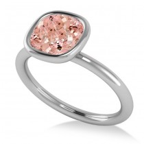 Cushion Cut Pink Morganite Solitaire Engagement Ring 14k White Gold (1.90ct)