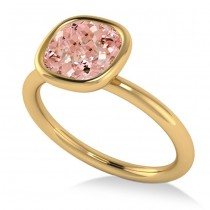 Cushion Cut Pink Morganite Solitaire Engagement Ring 14k Yellow Gold (1.90ct)