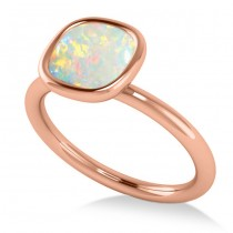 Cushion Cut Opal Solitaire Engagement Ring 14k Rose Gold (1.90ct)