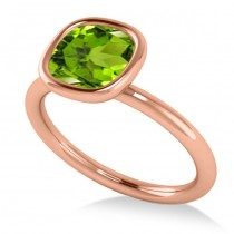 Cushion Cut Peridot Solitaire Engagement Ring 14k Rose Gold (1.90ct)