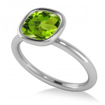Cushion Cut Peridot Solitaire Engagement Ring 14k White Gold (1.90ct)