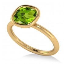Cushion Cut Peridot Solitaire Engagement Ring 14k Yellow Gold (1.90ct)