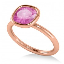 Cushion Cut Pink Sapphire Solitaire Engagement Ring 14k Rose Gold (1.90ct)