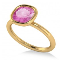 Cushion Cut Pink Sapphire Solitaire Engagement Ring 14k Yellow Gold (1.90ct)