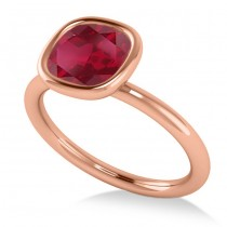 Cushion Cut Ruby Solitaire Engagement Ring 14k Rose Gold (1.90ct)