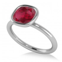 Cushion Cut Ruby Solitaire Engagement Ring 14k White Gold (1.90ct)
