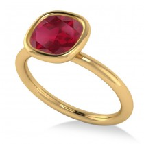 Cushion Cut Ruby Solitaire Engagement Ring 14k Yellow Gold (1.90ct)