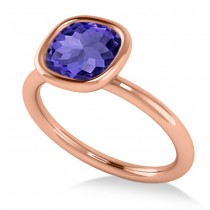 Cushion Cut Tanzanite Solitaire Engagement Ring 14k Rose Gold (1.90ct)