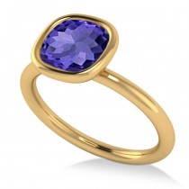 Cushion Cut Tanzanite Solitaire Engagement Ring 14k Yellow Gold (1.90ct)