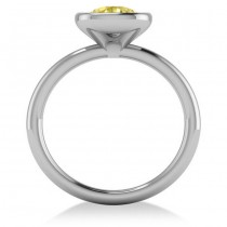 Cushion Cut Yellow Diamond Solitaire Engagement Ring 14k White Gold (1.40ct)