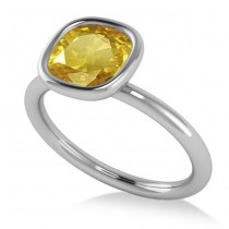 Cushion Cut Yellow Sapphire Fashion Ring 14k White Gold (1.90ct)