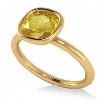 Cushion Cut Yellow Sapphire Solitaire Fashion Ring 14k Yellow Gold (1.90ct)