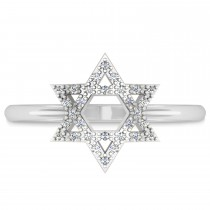 Diamond Jewish Star of David Fashion Ring 14k White Gold (0.15ct)
