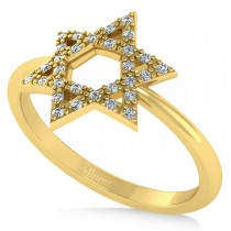 Diamond Jewish Star of David Fashion Ring 14k Yellow Gold (0.15ct)