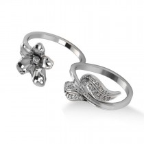 Diamond Floral Leaf Two Finger Ring 14k White Gold (0.28ct)