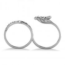 Diamond Floral Leaf Two Finger Ring 14k White Gold (0.28ct)