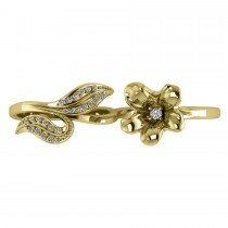 Diamond Floral Leaf Two Finger Ring 14k Yellow Gold (0.28ct)