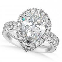 Lab Grown Diamond Pear-Cut Halo Curved Bridal Set 14K White Gold (2.78ct)