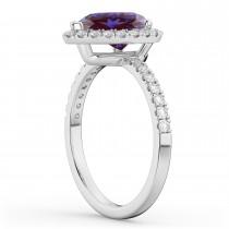 Pear Cut Halo Lab Alexandrite & Diamond Engagement Ring 14K White Gold 2.21ct