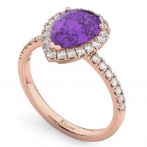 Pear Cut Halo Amethyst & Diamond Engagement Ring 14K Rose Gold 2.21ct