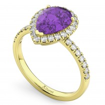 Pear Cut Halo Amethyst & Diamond Engagement Ring 14K Yellow Gold 2.21ct