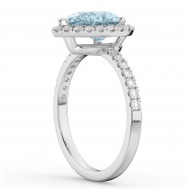 Pear Cut Halo Aquamarine & Diamond Engagement Ring 14K White Gold 2.36ct