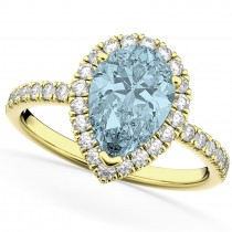 Pear Cut Halo Aquamarine & Diamond Engagement Ring 14K Yellow Gold 2.36ct