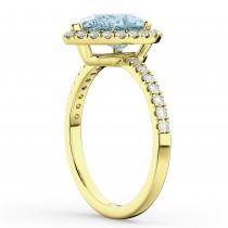 Pear Cut Halo Aquamarine & Diamond Engagement Ring 14K Yellow Gold 2.36ct