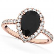 Pear Cut Halo Black Diamond & Diamond Engagement Ring 14K Rose Gold 2.51ct