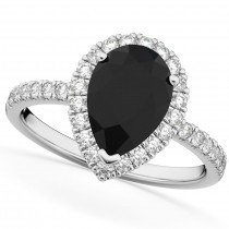 Pear Cut Halo Black Diamond & Diamond Engagement Ring 14K White Gold 2.51ct