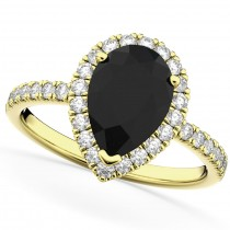 Pear Black Diamond & Diamond Engagement Ring 14K Yellow Gold (2.51ct)