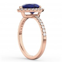 Pear Cut Halo Blue Sapphire & Diamond Engagement Ring 14K Rose Gold 3.01ct
