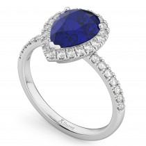Pear Cut Halo Blue Sapphire & Diamond Engagement Ring 14K White Gold 3.01ct