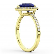 Pear Cut Halo Blue Sapphire & Diamond Engagement Ring 14K Yellow Gold 3.01ct