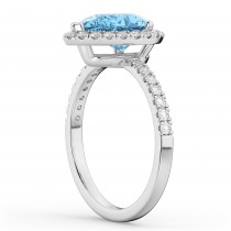 Pear Cut Halo Blue Topaz & Diamond Engagement Ring 14K White Gold 1.91ct
