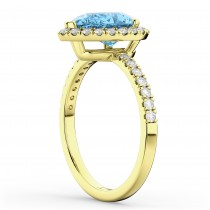 Pear Cut Halo Blue Topaz & Diamond Engagement Ring 14K Yellow Gold 1.91ct