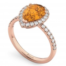 Pear Cut Halo Citrine & Diamond Engagement Ring 14K Rose Gold 2.21ct