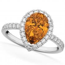 Pear Cut Halo Citrine & Diamond Engagement Ring 14K White Gold 2.21ct