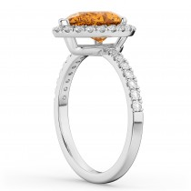 Pear Cut Halo Citrine & Diamond Engagement Ring 14K White Gold 2.21ct