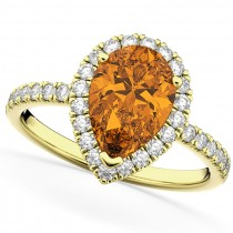 Pear Cut Halo Citrine & Diamond Engagement Ring 14K Yellow Gold 2.21ct