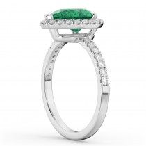 Pear Cut Halo Emerald & Diamond Engagement Ring 14K White Gold 3.21ct