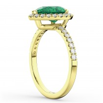 Pear Cut Halo Emerald & Diamond Engagement Ring 14K Yellow Gold 3.21ct